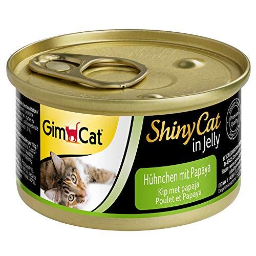 GimCat ShinyCat in Jelly Poulet à la papaye – Nourriture humide pour chats à la viande et taurine – 24 boîtes (24 à 70 g)