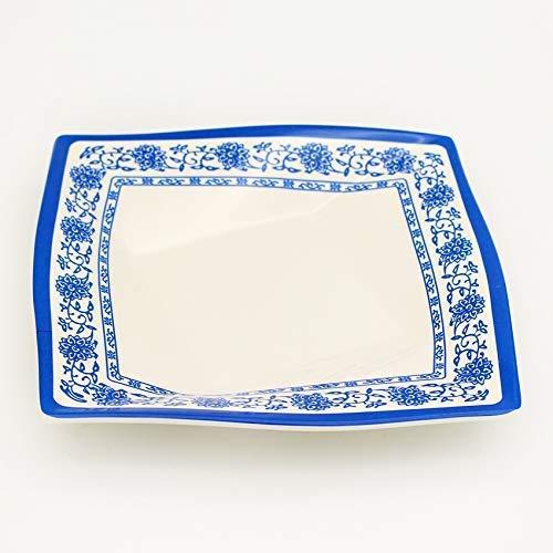 DHTOMC Placa Creativa vajilla Cuadrado Diamante Azul y Blanco Placa de Porcelana mañana Placa de Comida Placa de Cocina Cocina vajilla Azul 11 Pulgadas Cena Xping