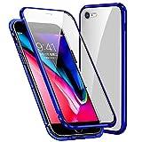 Funda Compatible iPhone 7/8/SE 2020, Carcasa Anti-Choques y Anti- Arañazos, Adsorción Magnética conchoques de Metal con 360 Grados Protección Case Cover Transparente Vidrio Templado Cubierta,Azul