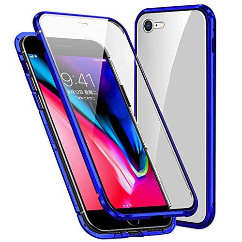 Cover per iPhone SE 2020/iPhone 7/iPhone 8 Magnetica Custodia,Davanti e Dietro Trasparente Vetro Temperato AntiGraffio + 360 Gradi Cornice Metallica Full Body Case,Blu