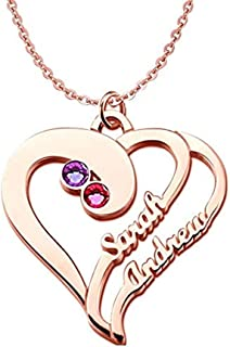 brcx Heart Birthstones Necklace Silver Heart Pendant with Birthstones Mothers Necklace
