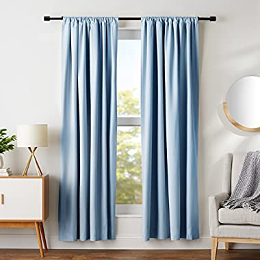 AmazonBasics Room Darkening Blackout Curtain Set - 52  x 84 , Smoke Blue