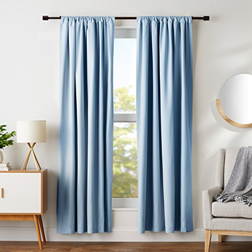 "AmazonBasics Blackout Curtain Set - 52"" x 84"", Smoke Blue"