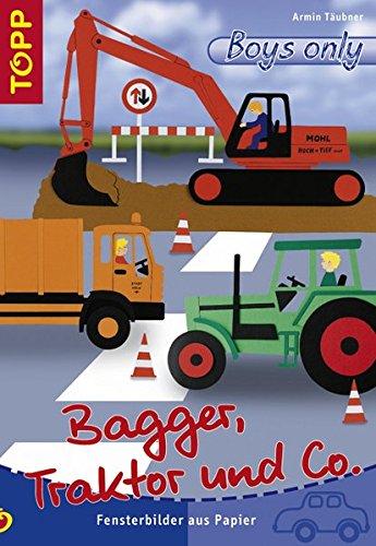 Bagger, Traktor und Co.: Fensterbilder aus Papier