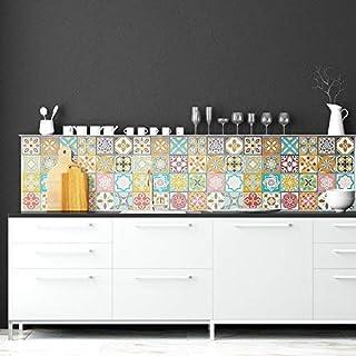 WALPLUS Colourful Tiles Wall Stickers 12 Pieces, Multicolour, 20 x 20 x 0.02 cm