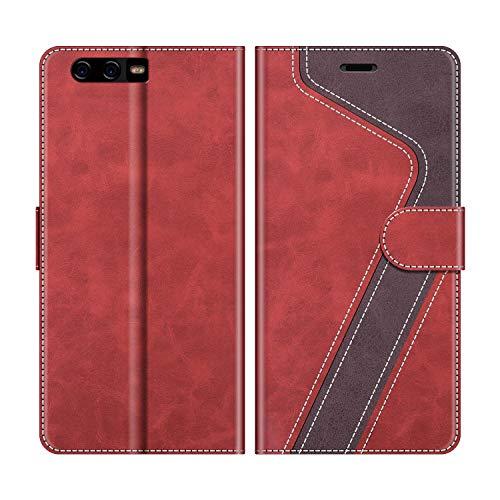 MOBESV Handyhülle für Huawei P10 Plus Hülle Leder, Huawei P10 Plus Klapphülle Handytasche Hülle für Huawei P10 Plus Handy Hüllen, Modisch Rot