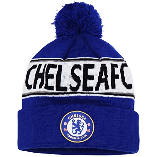 Official Soccer/Football Merchandise Adult Chelsea FC Text Winter Beanie Hat (One Size) (Royal Blue/White)