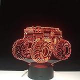Regalos creativos cambiantes Vehículo para automóvil Lámpara de mesa LED Usb 3D Botón táctil Luces nocturnas para vehículos Decoraciones para habitaciones de niños