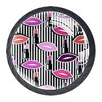 カラフルなバッジの形の唇が付いている家の台所ドレッサーのワードローブのシームレスなパターンのための引出しのハンドルは円形の水晶ガラスを引っ張る