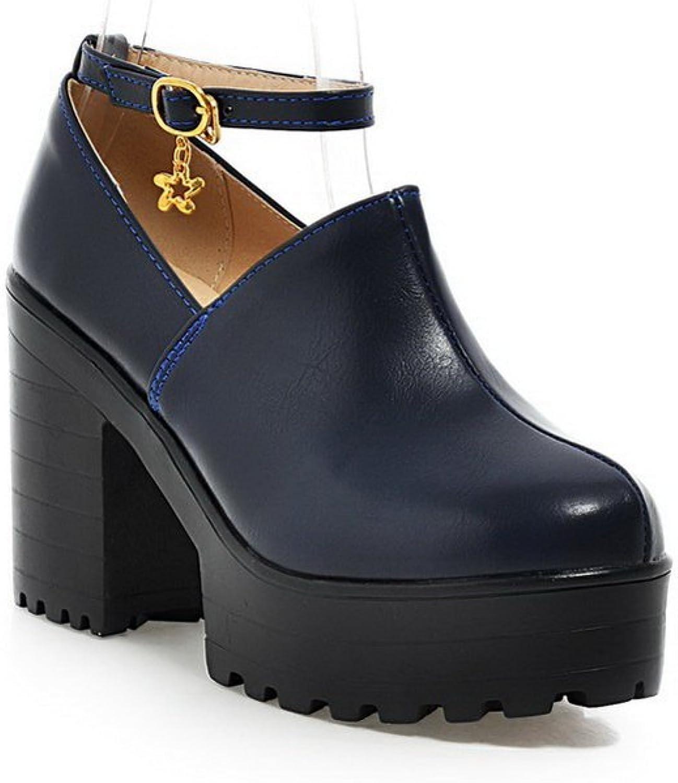 A&N Ladies Metal Buckles Chunky Heels Platform Urethane Oxfords shoes