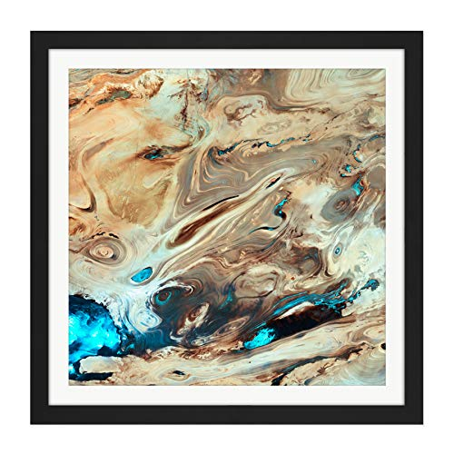 Dasht-E Kavir Salt Desert Satellite Image Square Wooden Framed Wall Art Print Picture 16X16 Inch W�ste Holz Wand Bild