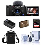 Sony ZV-1 Compact 4K HD Digital Camera, Black Essential Bundle with Bag, 64GB SD Card, Extra Battery, Compact Charger, Cleaning Kit