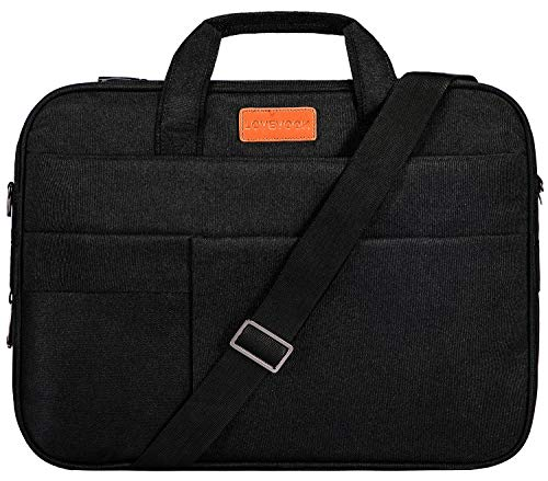 LOVEVOOK Laptop Bag for Men Women 15.6 Inch, Slim Shockproof Carrying Briefcase 15 Inch Expandable Laptop Case Messenger Bag with Protective Layer (Black)