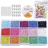 KAIMIRUI 7500 Cuentas de Colores 3mm Mini cuentas de cristal para los niños DIY Bracelet Arte y joyería-Making, cadena de cuentas de fabricación de juego, Fadeless Color(15 Colores)