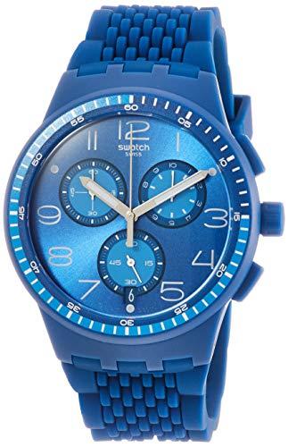 Swatch Unisex Erwachsene Chronograph Quarz Uhr mit Silikon Armband SUSN415