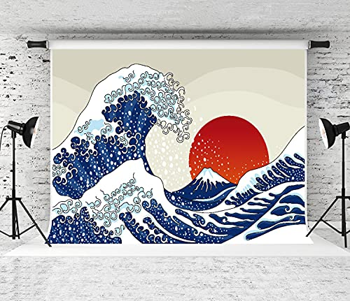 NANITHG Photography Background an Ancient Great Japanese Wave Party Decoration Banner Photo Booth Backdrop for Studio Props 10x7FT