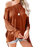 Yenlow Womens Off Shoulder Sweaters Batwing Sleeve Loose Slit Oversized Pullover Knit Jumper Slouchy Tunic Tops (Small, Brick red)