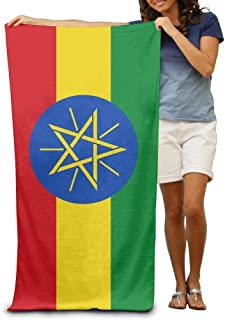 Flag of Ethiopia Adult Beach Towels Fast/Quick Dry Machine Washable Lightweight Absorbent Plush Multipurpose Use Quality Towels for Swim,Pool,Beach,Gym,Camping,Yoga