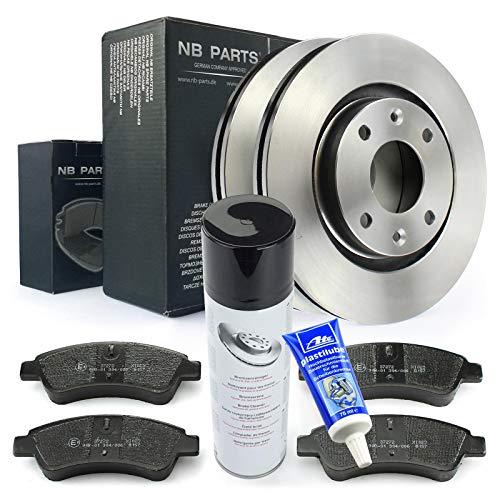 Bremsscheiben + Bremsbeläge vorne + Bremsenreiniger + ATE Plastilube NB PARTS GERMANY 10046380