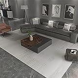 Kunsen Alfombra Comedor Diseño de Rayas de café Ligero Beige Decoracion hogar Salon alfombras 160X230cm