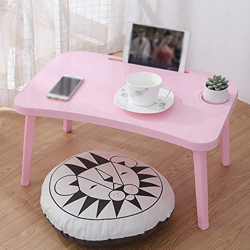 Bureau d'ordinateur portable pliable, avec fente pour carte de bureau et porte-gobelet, bureau de lit pliable bureau d'étude paresseux, bureau d'ordinateur portable pliable simple,Pink