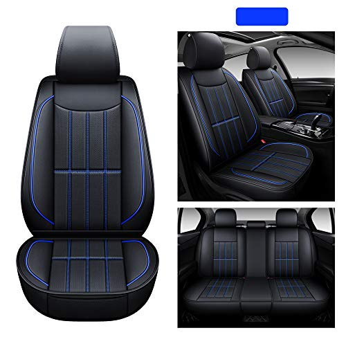 AOOG Leather Car Seat Covers, Leatherette Automotive Vehicle Cushion Cover for Cars SUV Pick-up Truck, Universal Non-Slip Vehicle Cushion Cover Waterproof, Full Set