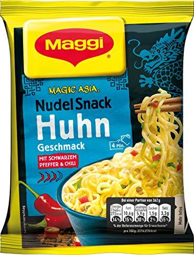 Maggi Magic Asia Nudel Snack Huhn, leckeres Fertiggericht, Instant-Nudeln, mit Hühnchen-Geschmack, asiatisch gewürzt, 12er Pack (12 x 62g)
