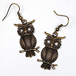 steampunk art projects ~ Steampunk owl earrings