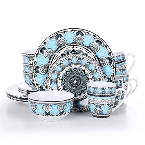 XXDTG Conjunto de vajillas de Cena de Cena de Porcelana de cerámica de 16 Piezas con Placa de Cena, Placa de Postre, tazón de Cereal, Conjunto de Taza 380ml