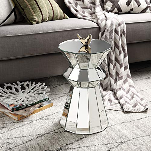 Mireo Mirrored Side Table, Modern Pedestal,Mirrored end Table, Mirror Accent Nightstand