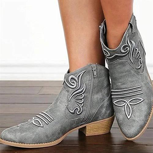 Leather Western Boot Womens Puntschoen Lage Hak Enkellaarsjes Herfst Winter Retro Outdoor Non-Slip Laarsjes,Gray,43 EU