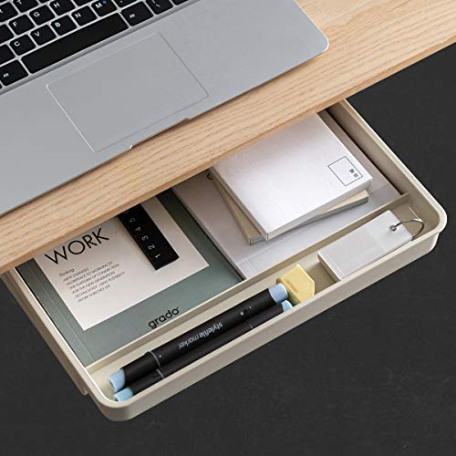 AirTaxiing Under Desk Drawer - Large Under Table Hidden Drawer Desktop Storage Pen Pencil Slide Out Pull Out Organizer Adhesive Storage Stick on Shelf at Home School Office Paste Tray