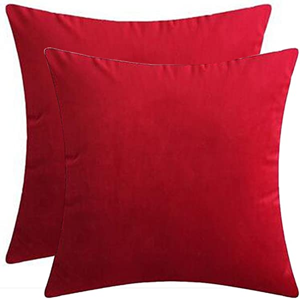 Andreannie Set Of 2 Velvet Cozy Super Soft Comfortable Solid Decorative Throw Pillow Covers Cushion Case For Sofa Living Room 18 Inches 20 Inches Square Bright Red 2 Pcs 18 X18