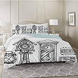 YUAZHOQI Juego de funda de edredón y reloj vintage en tinta estilo retro monocromático, juego de cama de 3 piezas con 2 fundas de almohada, tamaño Queen