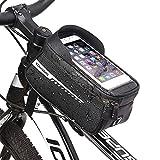 HQCM Borsa Telaio Bici, Impermeabile Borsa da Manubrio per Biciclette Ideale per la Navigazione con TPU Touchscreen Porta Cellulare da Bicicletta 1,5 l per Smartphone Fino a 6,5