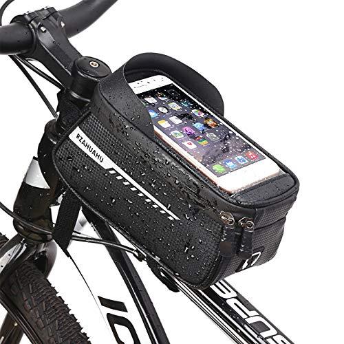 HQCM Bolsa cuadro bicicleta impermeable bolsa de manillar para bicicleta ideal para la navegación con TPU pantalla táctil porta móvil de bicicleta 1,5 l para smartphone hasta 6,5 l
