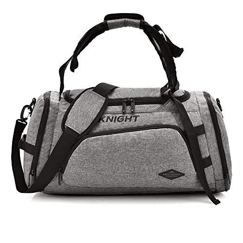 Free Knight Bolsa de Deporte 3 en 1 para Hombres, Mujeres, con Compartimento para Zapatos, 35 L, Gris