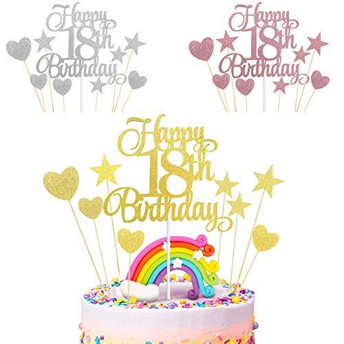 18 años Happy Birthday Cake Topper, 27 piezasDecoración para Tarta,Topper de Pastel,Cumpleaños Boda Decoración Cake Toppers,Topper de Pastel,Fiesta de cumpleaños Decoración (Oro rosa + oro + plata)