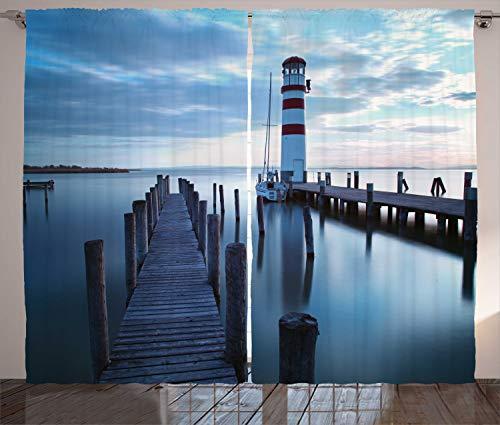 ABAKUHAUS maritim Rustikaler Gardine, Leuchtturm Meer bei Sonnenaufgang, Schlafzimmer Kräuselband Vorhang mit Schlaufen und Haken, 280 x 175 cm, Dark Brown-Schiefer-Blau