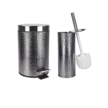 Home Basics Deluxe Hammered Stainless Steel Bathroom Accessories Decorative Toilet Brush And 3 Liter Waste Basket Set