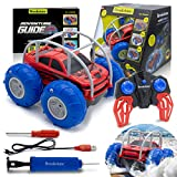 Brookstone Amphibious Remote Control Car for Kids (Red/Blue) – Stunt Force All-Terrain High Speed Waterproof RC Car 4x4 AWD 2.4GHz w Rechargeable Battery for Boys/Girls
