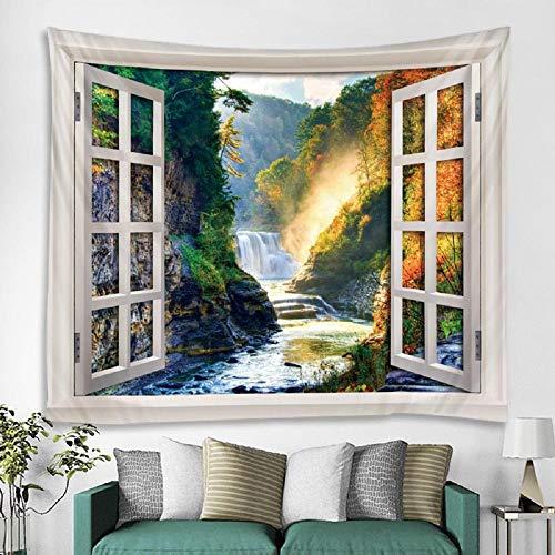 Tapiz de paisaje de cascada de valle tapiz de pared para colgar en la pared decoración del hogar estera de yoga de menta 150x200cm / 59x79inchch