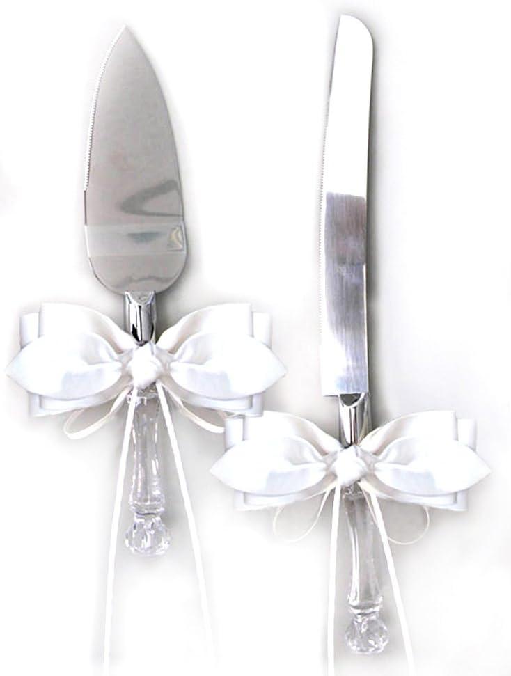 White Satin Bow Ribbon Cake Popular overseas Knife Set Bridal Wedding Cheap mail order shopping Server and