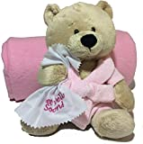 Ganz 10.5' Get Well Teddy Bear with Pink Robe Plush and Deluxe 50' X 60' Stadium Fleece Blanket from Northeast Fleece for Comfort (Pink Robe Bear with Blanket)