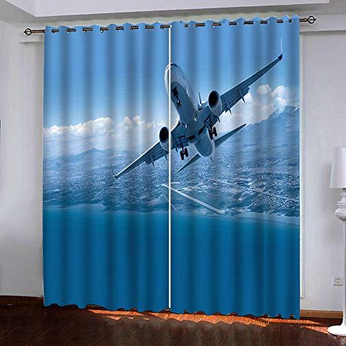 HANTAODG Cortinas Opacas Patrón De Avión Azul Cortinas Opacas Modernas Cortinas Cortas Termicas Aislantes Frio Calor Reduccion Ruido Proteccion Intimidad 140X160Cm