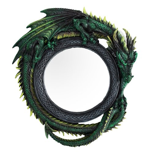 Ebros Gift Gothic 11.75' Tall Celtic Jade Pagoda Green Intertwined Dragon Round Wall Mirror Hanging Plaque Home Decor Sculpture Vanity Decorative Mirrors