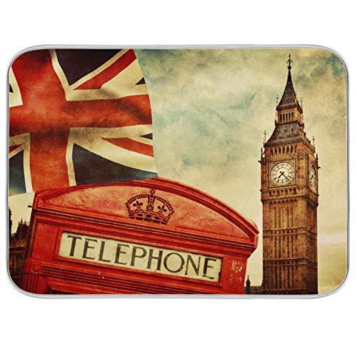 Alfombrilla para secar platos, encimeras de cocina de microfibra, protector de almohadilla seca, 16 x 18 pulgadas, London Telephone Bigben