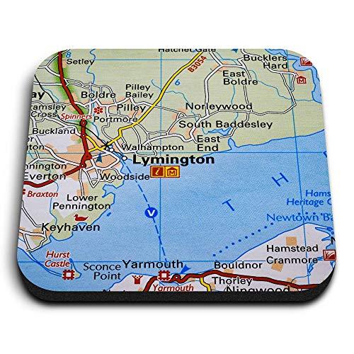Destination Vinyl ltd Impresionantes imanes cuadrados de MDF – Lymington Inglaterra Travel Holiday UK para oficina, armario y pizarra blanca, pegatinas magnéticas, 45637