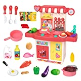 RVEE Kids Kitchen Pretend Play Toys Set with Realistic Lights & Sounds for Toddlers and Little Girls Boys, Toy Accessories Set for Kids Playing Simulation of Spray, Pink