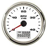 PETER LI 1個ガソリンやディーゼルエンジン自動車タコメータ85ミリメートル0-4000RPM.Hourmetersイエローグリーンバックライト用ボート付き液晶改訂カウンタ Color  White WS